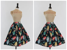 Load image into Gallery viewer, Vintage original 1950s novelty gambling print cotton skirt UK 6 8 US 2 4 XS S
