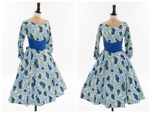 Vintage original 1950s Rodney floral rose print cotton dress UK 10 12 US 6 8 S M