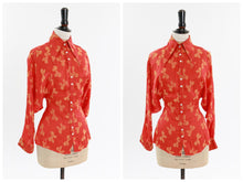 Load image into Gallery viewer, Vintage original 1970s Jeff Banks novelty bow print satin blouse with statement sleeves UK 6 8 US 2 4 XS S