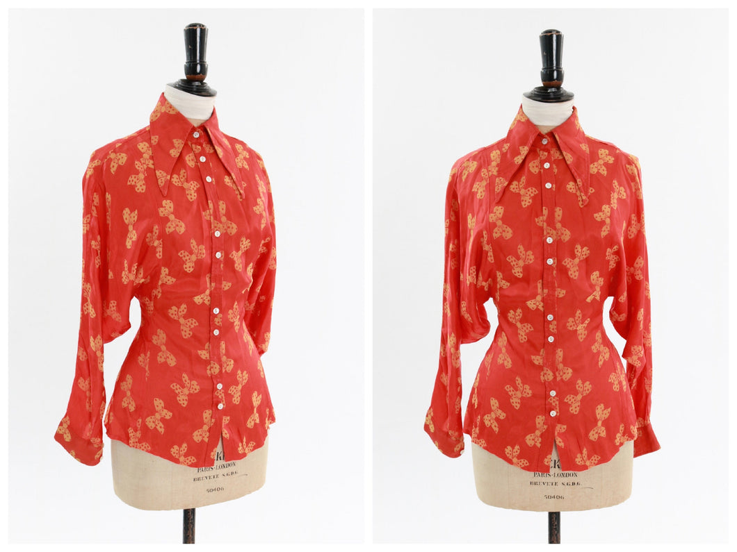 Vintage original 1970s Jeff Banks novelty bow print satin blouse with statement sleeves UK 6 8 US 2 4 XS S