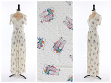 Load image into Gallery viewer, Vintage original 1970s novelty people print jersey maxi dress UK 6 US 2 XS