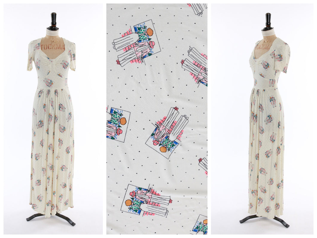 Vintage original 1970s novelty people print jersey maxi dress UK 6 US 2 XS