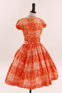 Vintage original 1950s bright orange floral print cotton dress likely by Blanes UK 6 8 US 2 4 XS S