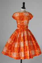 Load image into Gallery viewer, Vintage original 1950s bright orange floral print cotton dress likely by Blanes UK 6 8 US 2 4 XS S