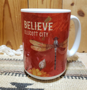 BELIEVE ELLICOTT CITY DRAGONFLY MUG -  15 oz