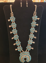 Load image into Gallery viewer, VINTAGE TURQUOISE SQUASH BLOSSOM NECKLACE