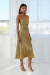 Gold Girl Asymmetric Bias Dress By Johnny By Daniella Boutique