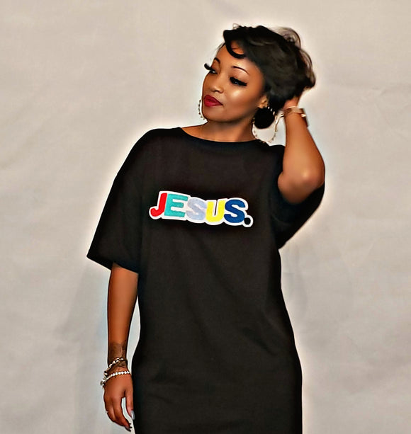 Jesus Chenille Patch Wear Around T-Shirt Dress - Black