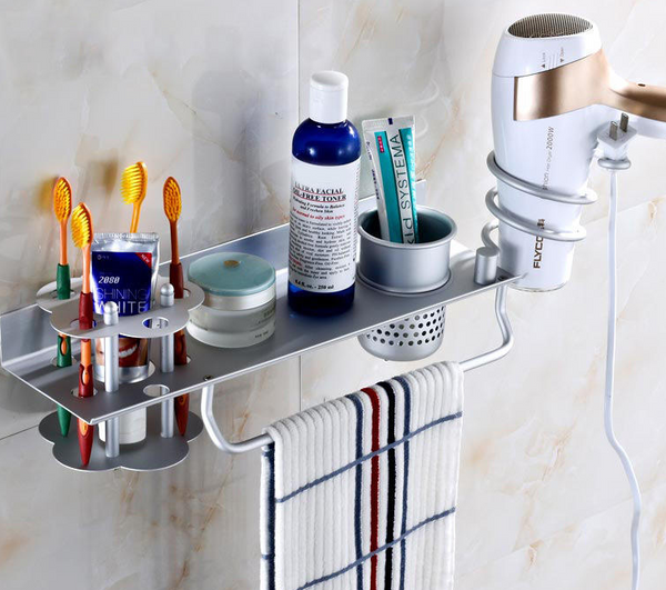 Toothbrush cup rack holder space aluminium toilet electric toothbrush rack wall suction type toothbrush rack wall hanging hole-free