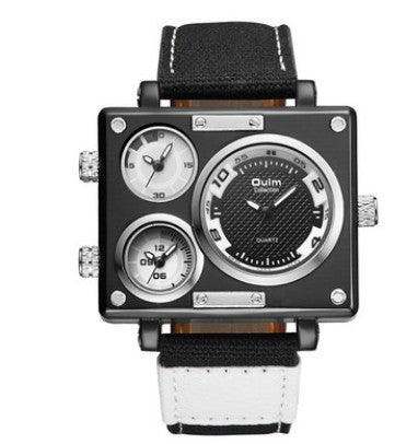 Men's Multi Time Zone Canvas Square Dial Plate Watch