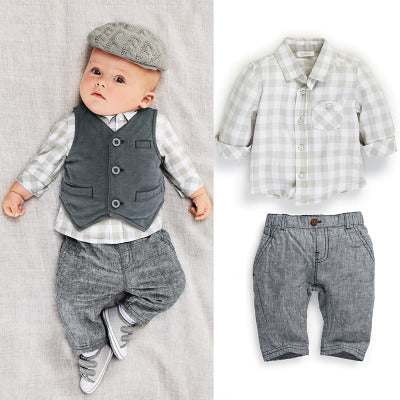 Original single boy suit autumn plaid vest three-piece gentleman boy autumn long-sleeved suit 1-3 years old