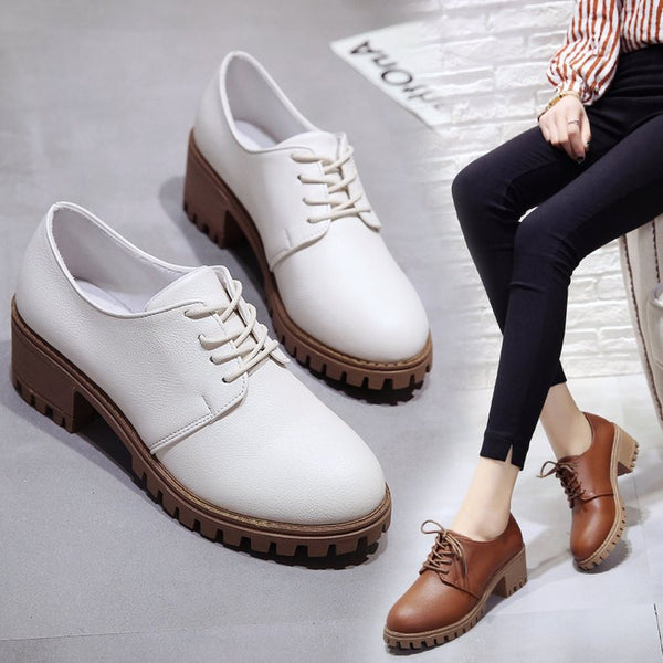 Small leather shoes for women spring 2020 new retro chunky shoes for women Korean version of the student  flat shoes medium heels