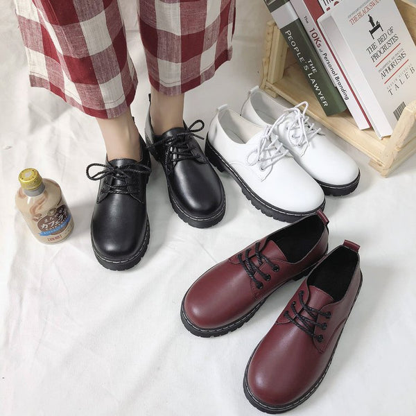 Spring and autumn 2020 new Korean casual lacing British style shoes thick soles ladies flat