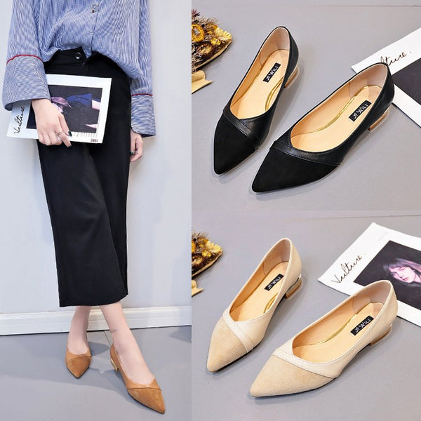 Shoe lady 2020 spring han edition new low heel is pointed shallow mouth single shoe black joker shoe