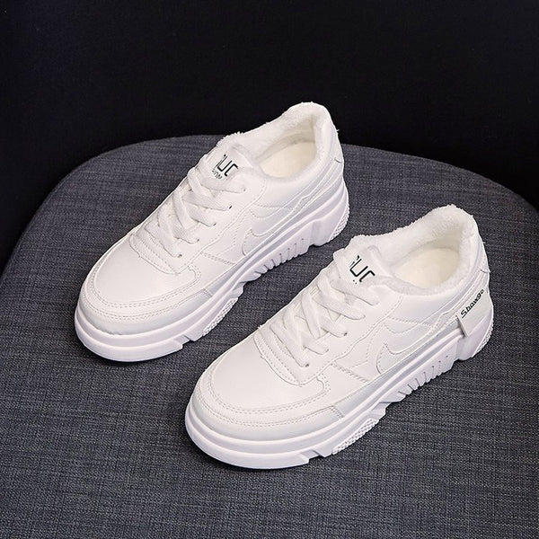 2019 winter new style women's shoes rubber round toe sports casual shoes flat heel PU lace up sneakers