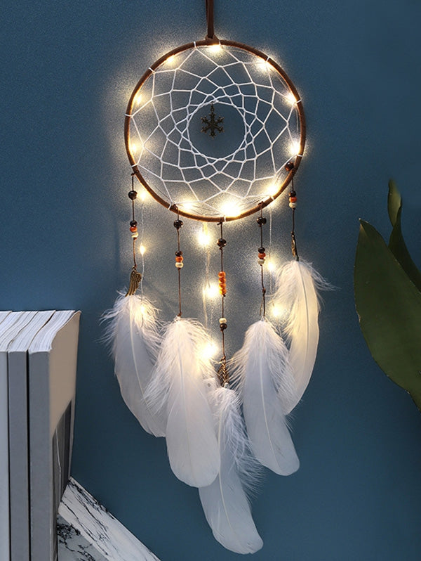 Handmade LED Light Christmas Snowflake and Feather Dream Catcher (WHITE WITH LIGHTS)