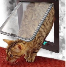 4 Way Lockable Dog Cat Kitten Door Security Flap Door ABS Plastic S/M/L Animal Small Pet Cat Dog Gate