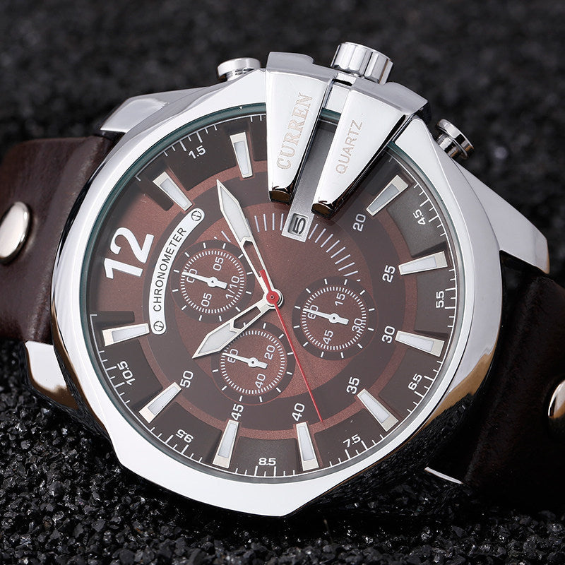 8176 individual large dial CURREN Kuran the Black Mens watch fashion calendar Mens hot sport watch