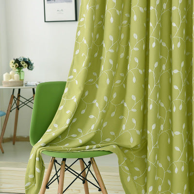 Rattan leaf cotton and linen embroidery half blackout curtain (green)