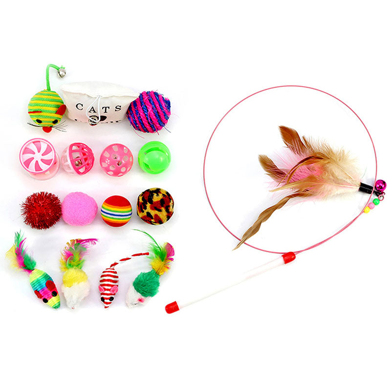 16 pcs Pettoy Set Feather Teaser Wand Catnip Toys Ball Rings cats interactive Products