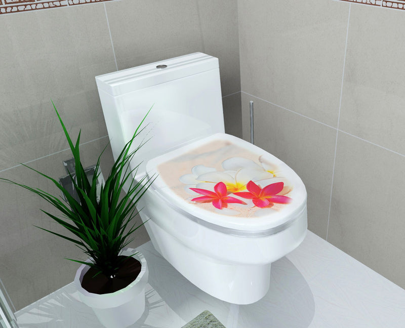 32*39cm Sticker WC Pedestal Pan Cover Sticker Toilet Stool Commode Sticker home decor Bathroon decor 3D printed flower view