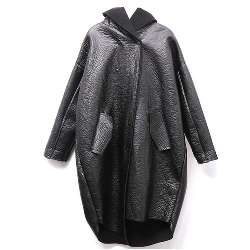 [EAM] Loose Fit Hooded Black Pu Leather Thick Oversize Jacket New Long Sleeve Women Coat Fashion Tide Autumn Winter 2019 JG637 (black One Size)