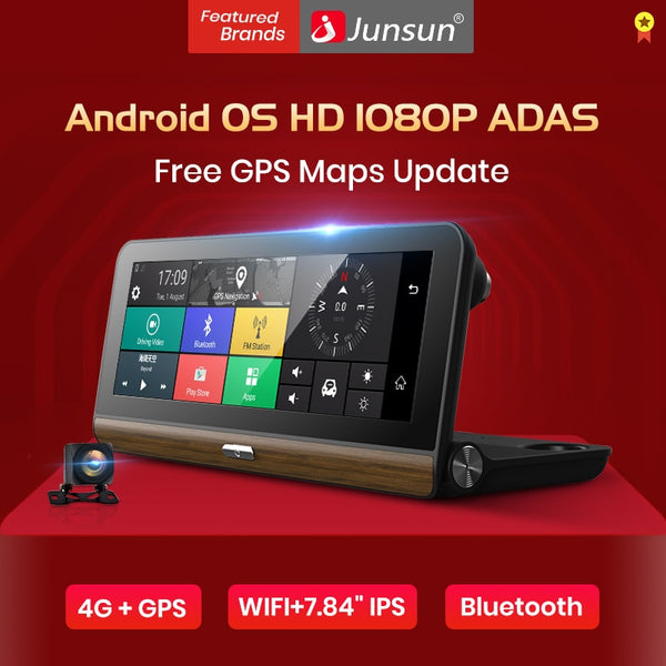 "Junsun E31P Pro Car DVR Camera 4G ADAS 7.80"" Android OS GPS Navigator Registrar Video Dash Cam Recorder with two cameras morror"