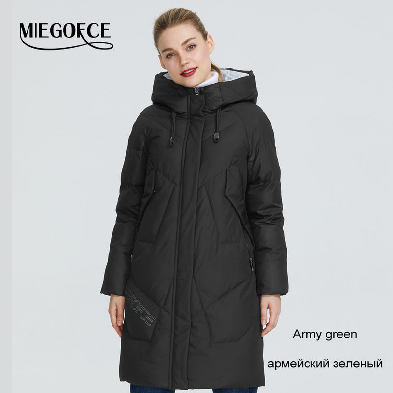 MIEGOFCE 2019 Women Winter Parka Femme Windpro Coat With Stand-Up Collar and Hood That Will Protect From The Cold Women's Jacket