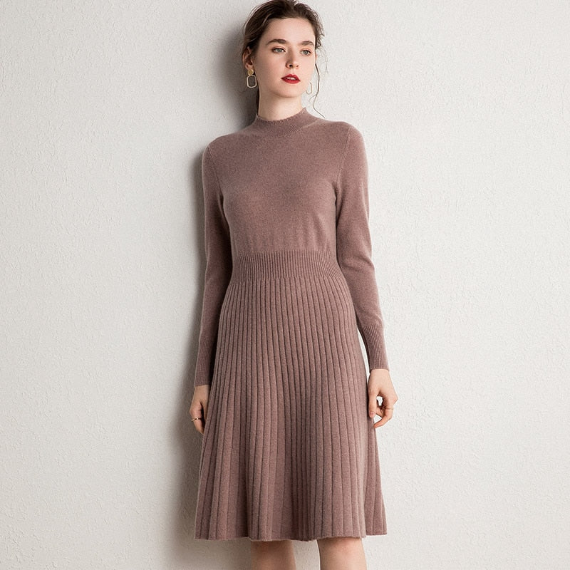 Women Dress 100% Goat Cashmere Knitted Pullover Winter New Fashion Long Dresses Ladies Pure Pashmina Knitwear 6Colors Girl Dress