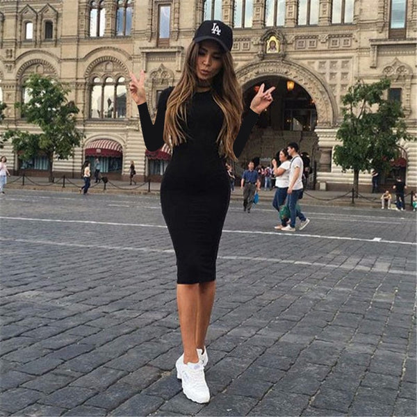 2019 Autumn Hot Slim Bodycon Dress Women Solid Color Chic Party Dresses Casual Sleep Wear Inside Wear Vestidos Pencil Dress