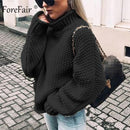 Forefair Oversize Turtleneck Knitted Sweater Winter Knitwear Plus Size Slim Solid Green Orange White Warm Casual Sweater Women