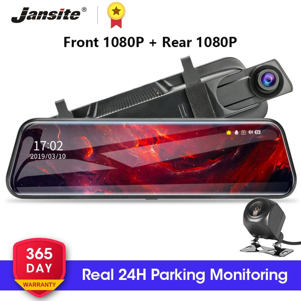 Jansite 10-inch Touch Screen 1080P Car DVR stream media Dash camera Dual Lens Video Recorder Rearview mirror 1080p Backup camera