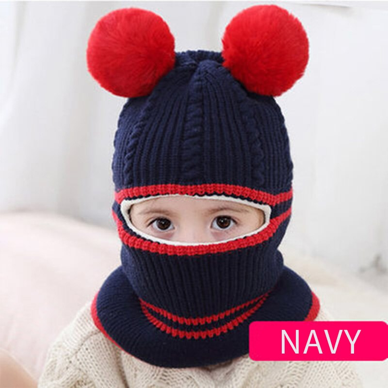 Two Pompons Knitted Baby Hats Scarf Winter Wool Turban Beanie Warm Caps Soft Hat For Childern Girls Boys Cute Bonnet Winter