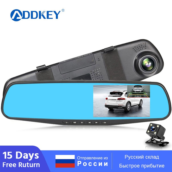 ADDKEY Full HD 1080P Car Dvr Camera Auto 4.3 Inch Rearview Mirror dash Digital Video Recorder Dual Lens Registratory Camcorder
