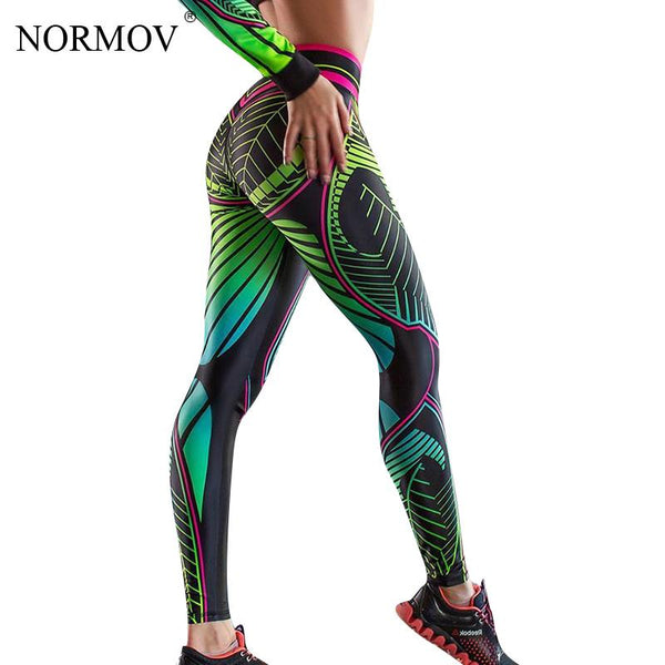 NORMOV Women Sexy Printed Leggings Push Up Woman High Waist Leggings Elasticity Slim Workout stretch breathable pants Leggings