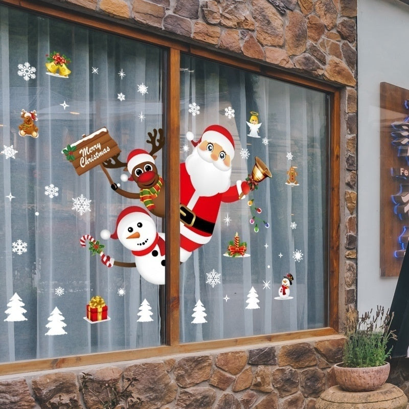 Cartoon Christmas Stickers for Window Showcase Removable Santa Clause Snowman Home Decor Decal Adhesive PVC New Year Glass Mural