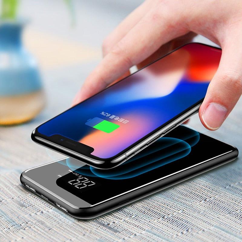 QI Wireless Charger For iPhone Samsung 20000mah Power Bank External Battery Bank Built-in Wireless Charger Powerbank Portable