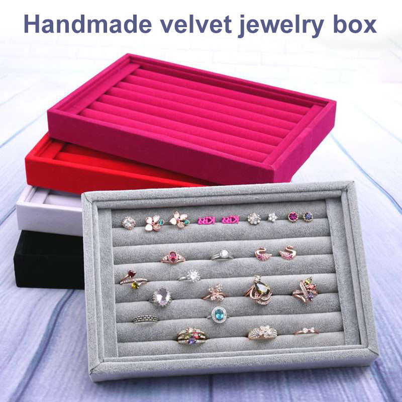 Hot Sales Fashion Portable Velvet Jewelry Ring Jewelry Display Organizer Box Tray Holder Earring Jewelry Storage Case Showcase
