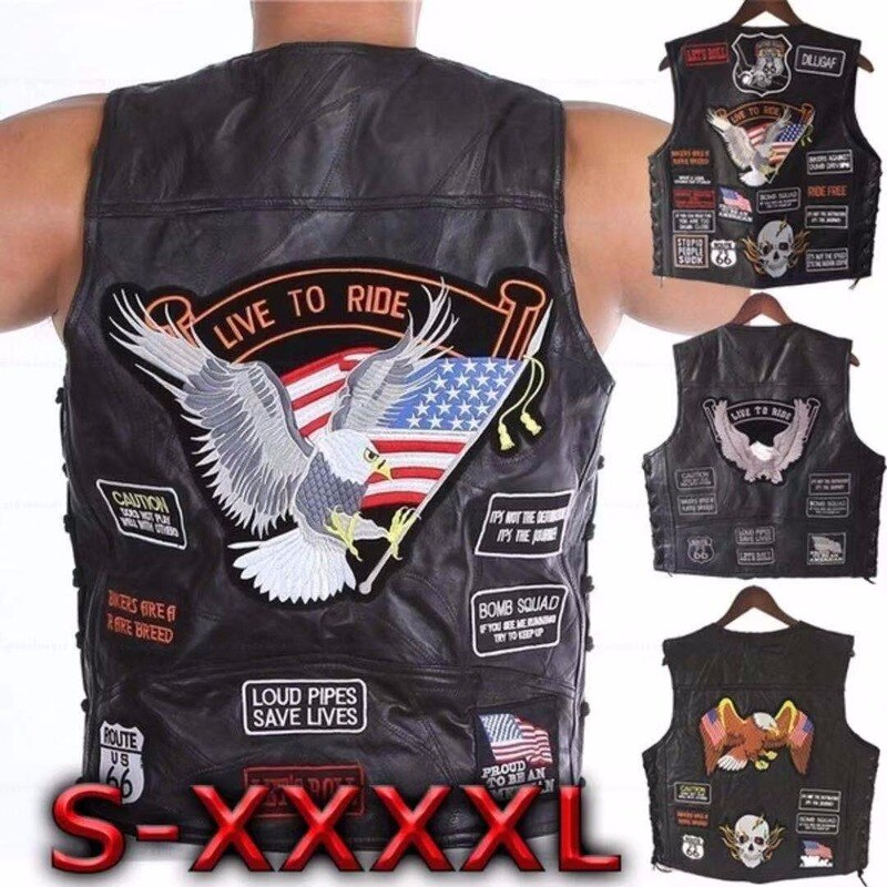 Letter Embroidery Motorcycle Leather Vest Men Spring New Fashion Punk Sleeveless Jacket V Neck Plus Size Waistcoats 14 Patches