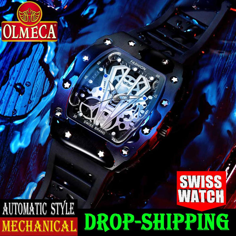 OLMECA Men's Luxury Famous Top Brand Military Army Fashion Sport Automatic Mechanical Dial Style Waterproof Luminous Chronograph