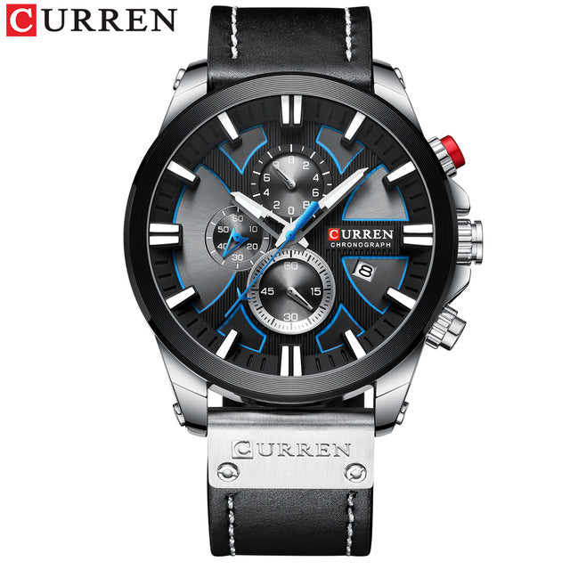 Luxury Mens Watches Fashion Chronograph Sport Quartz Wristwatch CURREN Leather Strap Watch With Date Reloj Hombre Luminous Hands