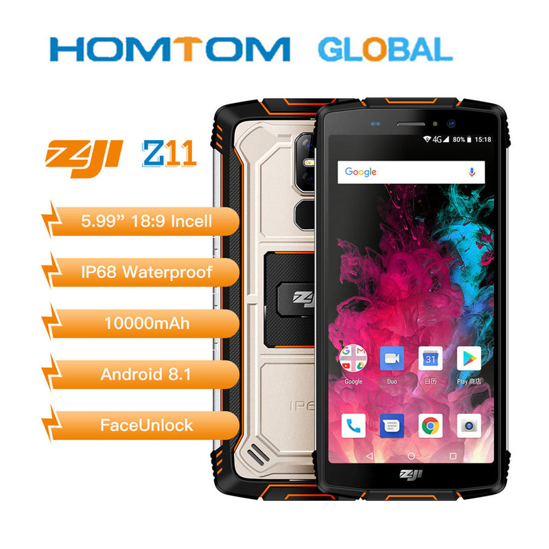 "Original Homtom Zoji z11 Mobile Phone IP68 5.99"" MTK6750T Octa core 4GB 64GB 10000mAh Android 8.1 Face unlock Smartphone"