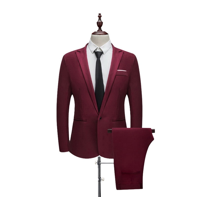 CYSINCOS Men Suit Wedding Suits for Men Shawl Collar 3 Pieces Slim Fit Burgundy Suit Mens Royal Blue Tuxedo Jacket Costume Homme