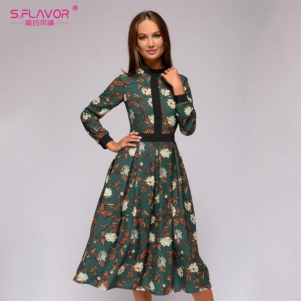 S.FLAVOR patchwork printing women A-line dress 2020 Spring vintage style vestidos for female Casual bottom Women Midi dress