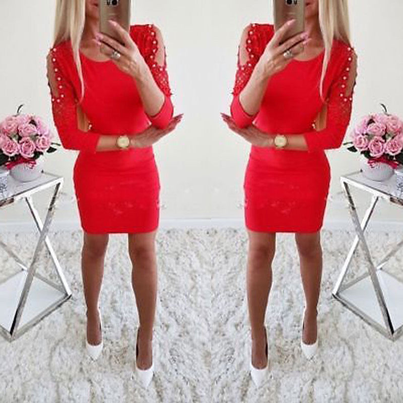 Women Sexy Cold Shoulder Beading Bodycon Dress Ladies Evening Party Mini Dress #