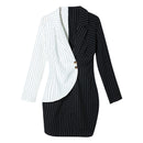 Sexy black double breasted blazer dress Office dress robe blazer white dress Plus size slim bodycon work wear dresses hot vogue