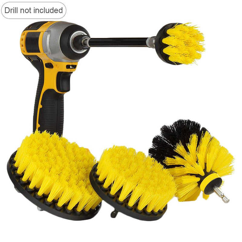 5 PCS Drill Brush Scrub Kit Set Motorcycle Accessories with Extension Rod for Car Cleaning Deck Seats Boat Seat Carpet Fabric
