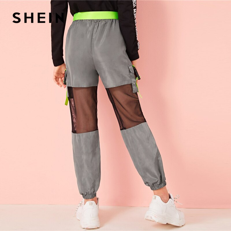 SHEIN Kiddie Girls Neon Buckle Mesh Insert Wind Belted Cargo Pants Kids 2019 Autumn Grey Elastic Waist Pocket Side Trousers