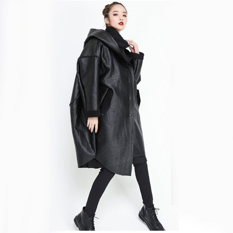 [EAM] Loose Fit Hooded Black Pu Leather Thick Oversize Jacket New Long Sleeve Women Coat Fashion Tide Autumn Winter 2019 JG637