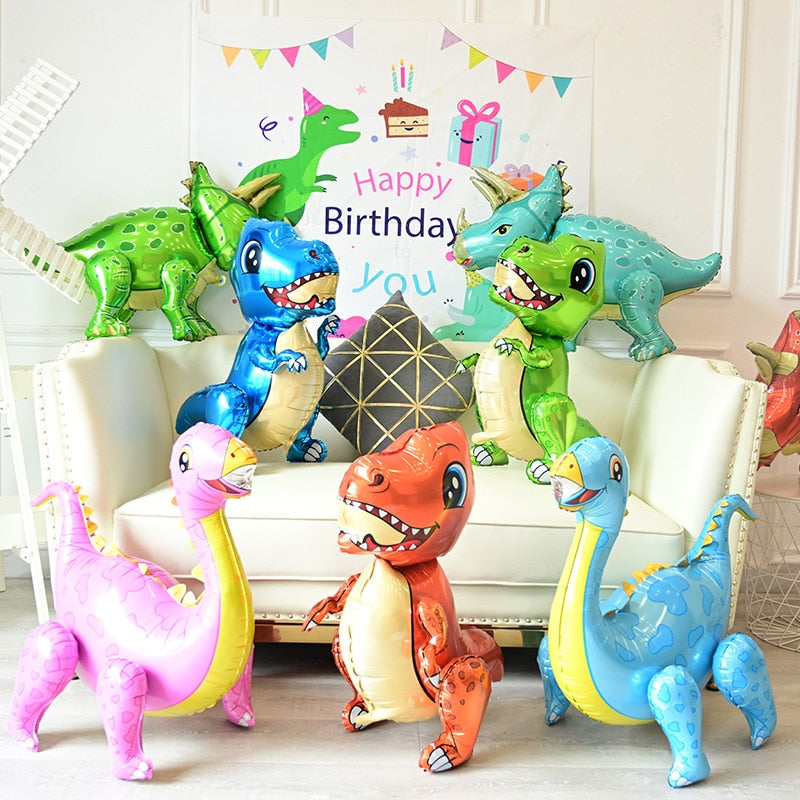 1pc Large 4D Walking Dinosaur Foil Balloons Boys Animal Balloons Children Dinosaur Birthday Party Jurassic World Decor Balloon